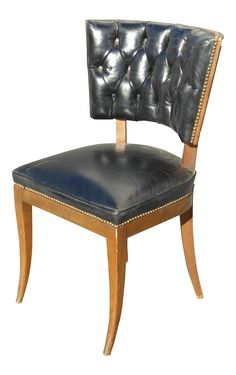 Mid-Century Modern Tufted Black Vinyl Accent Chair on Chairish.com