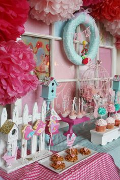Birthday Party Ideas. What a cute party love the little birds nests and bird wreath.