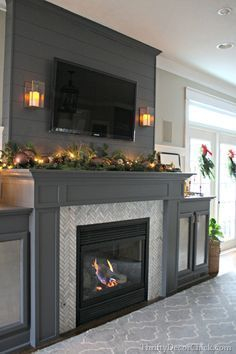 A gorgeous fireplace transformation! Thrifty Decor Chick Article Gallery Ideas] The post A gorgeous fireplace transformation! Thrifty Decor Chick appeared first on Royal. Grey Fireplace, Fireplace Redo, Fireplace Remodel, Living Room With Fireplace, Fireplace Surrounds, Fireplace Design, Fireplace Mantels, Home Living Room, Fireplace Ideas