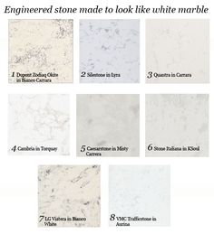 Countertops that look like white marble (take two)  quartz engeneered stone options for kitchen, great blog carrara