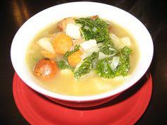 Kale and Potato Soup with Turkey Sausage. 230 calories per serving.