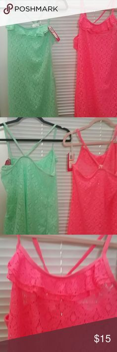 2 pink and green tops or beach cover ups Seafoam green and hot pink Lacey tops or beach cover-ups two-for-the-price-of-one Tops Tank Tops