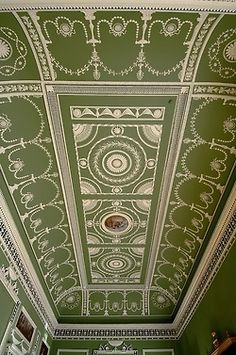 Plaster ceiling of the Eating Parlour, Headfort House, Kells, Ireland. Robert Adam designer/architect, late Would like 13 ft. ceilings with decorative work instead of tray ceilings. English Architecture, Classical Architecture, Amazing Architecture, Art And Architecture, Architecture Details, Ceiling Art, Ceiling Design, Roof Ceiling, Ceiling Tiles
