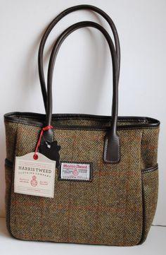 Skye Harris Tweed shoulder or tote bag in mustard check tweed with leather trim