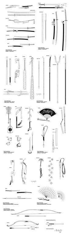 "A collection of weapon illustrations created for Reality Blurs RPG setting ""Iron… – katana Armas Ninja, Ninja Weapons, Samurai Weapons, Katana Swords, Weapons Guns, Anime Weapons, Medieval Weapons, Fantasy Weapons, Fantasy Katana"