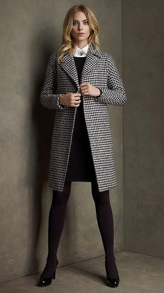 Wool Houndstooth Belted Coat by Brooks Brothers.  Great work outfit.