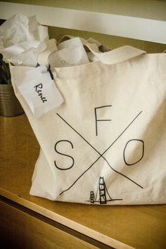 San Francisco/California themed gift bags for out of town guests. Complete with first aid kits, water bottles, postcards, sweet and salty snacks ect... Yosemite Wedding, Salty Snacks, San Francisco California, First Aid Kit, Sweet And Salty, Gift Bags, Paper Shopping Bag, Water Bottles, Postcards