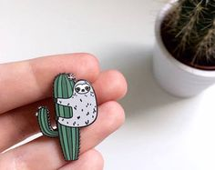 Sloth Enamel Pin - Cute Enamel Pin - Sloth - Cactus Enamel Pin - Cactus Lapel Pin - Hard Enamel - Sloth Pin - Sloth Gifts - animal pins
