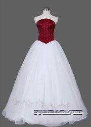 Unique red and white wedding dress. Also comes in red and ivory or ...