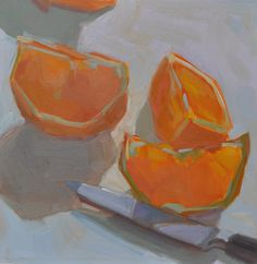 Oranges on my counter, by Anne Ward.  12x12