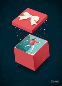"Editorial illustration titled ""Wishing"". this print is available on Society6 #wish #illustration #andreadesantis #gift #holiday #xmas #snow #iceskating #ice #box #cold #winter"