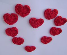 Handmade crocheted red hearts appliques set by RiaCrochetCreations