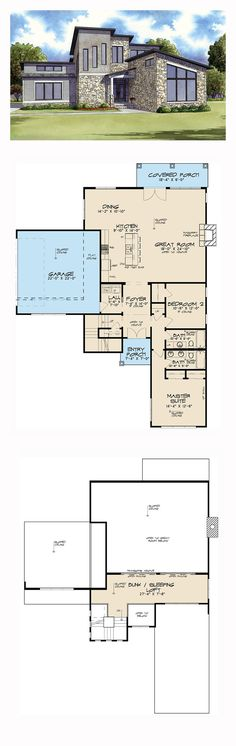 Modern House Plan 82410 | Total Living Area: 1911 sq. ft., 2 bedrooms and 2 bathrooms. #modernhome
