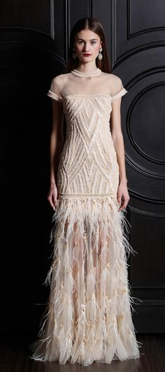Naeem Khan Pre-Fall 2013 This is so pretty I especially like the bottom portion of the skirt with the feathers.