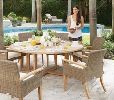 This set includes 1 Gloster Bristol round dining table and 6 Gloster Pepper Marsh dining armchairs. The Gloster Bristol Round Din Gloster Outdoor Furniture, Modern Outdoor Furniture, Furniture Care, Teak Furniture, Furniture Ideas, Rectangular Fire Pit, Outdoor Seating, Outdoor Decor, Round Dining Set