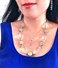 Quartz gemstone, turquoise, Swarovski crystal jewelry at GemsSheGets.com