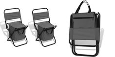 Folding Beach Stools 2 Pc Grey Camping Fishing Picnic Chair Stool Set Cooler Bag