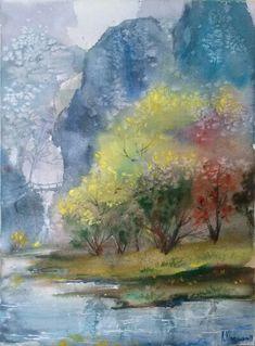 """""""Landscape"""" Watercolour,Paper Arches, Size 38*56cm."""