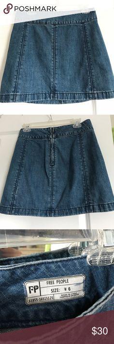 Free People Jean Skirt size 6 Cute FP jean skirt. Worn twice! Free People Skirts Mini