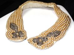 Vintage  Pearl Collar Necklace Bib Off White by SellitAgainVintage, $37.00