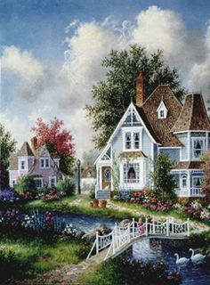 'Riverside Cottage' ~ Dennis Patrick Lewan