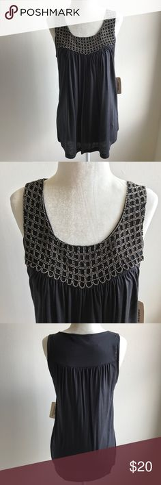 Gray flowy beaded tank top - NWT!! Super cute tank top from Forever21. In perfect condition. Size Small. Gray with beaded detail. All beads intact. Flowy. Excellent condition. --- No pets, clean home. Accepting offers!! Forever 21 Tops Tank Tops