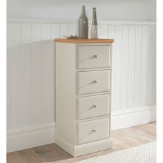 Remi Shabby Chic Tallboy Chest NOW £279.99 - The new Remi bedroom collection brings the appeal of painted #furniture with contrasting oak top for a true twist on country style. This #shabby #chic tallboy chest ensures beauty and elegance in abundance.