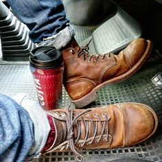 ..coffee on the go today...morning routine #shoes #boots #mensoutfits #menswear #fashion #mensfashion #braap Red Wing Iron Ranger, Mens Boot, Today Morning, Red Wing Boots, Sports Uniforms, Rugged Style, Motorcycle Boots, Irons, Vintage Industrial