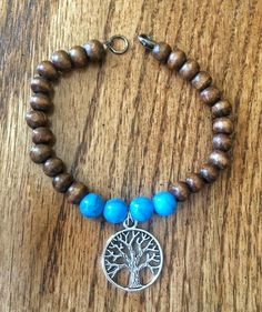 Wooden Beaded Bracelet, Tree Of Life Boho Bracelet Jewelry, Turquoise Native American Nature Jewelry, Friendship Charm Bracelet Gift For Her Bohemian Bracelets, Hippie Jewelry, Fashion Bracelets, Jewelry Bracelets, Anklet Jewelry, Tree Of Life Ring, Tree Of Life Jewelry, Celtic Tree Of Life, Beaded Anklets
