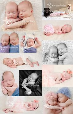 Collage of photos of newborn boy girl twins photographed by NJ Newborn Photographer.