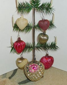 7 German Glass Hearts Antique Christmas  Ornaments