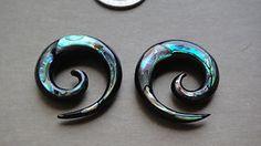 1 Pair Organic Horn Abalone Shell Inlay Spirals Stretcher Taper Ear Plugs Gauges | eBay
