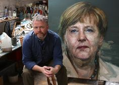 Artist Colin Davidson with his painting of Angela Merkel commissioned for the cover of TIME's 2015 Person of the Year Issue.