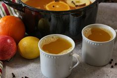 mugs filled with wassail Lemon Juice Water, Winter Treats, Recipe Instructions, Fruit Punch, Christmas Drinks, Few Ingredients, Apple Cider, Food Print