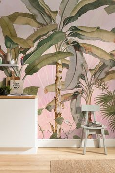 Buy at Forest Homes this beautiful Tropical mural wallpaper in stunning shades of pink. A dreamy tropical jungle mural to create exquisite nature inspired looks.