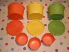 Vintage Retro 1970's Tupperware Set of (3) Orange Yellow & Green Snack Canister - mom had these or something just like them