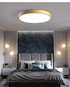 Complement your modern style statement by enhancing the look of your indoor space with the Rasia Gold LED Ceiling Light. This light creates a naturally beautiful ambiance with its opal white glass shade. Room Design Bedroom, Master Bedroom Interior, Modern Master Bedroom, Bedroom Furniture Design, Home Room Design, Home Decor Bedroom, Modern Luxury Bedroom, Luxury Bedroom Design, Luxurious Bedrooms