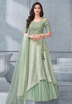 Buy Net And Lycra Pista Green Designer Lehenga Choli Online Indian Gowns Dresses, Indian Fashion Dresses, Indian Designer Outfits, Indian Outfits, Fashion Outfits, Lehenga Choli Online, Ghagra Choli, Net Lehenga, Green Lehenga