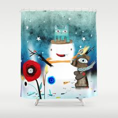 Christmas Shower Curtain Happy New Year 2017