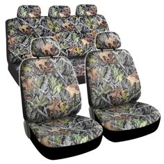 BDK Camouflage 9-piece Seat Cover Automotive Set (Camouflage), Green
