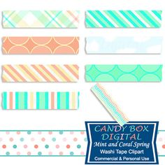 Mint and Coral Spring Washi Tape Clipart by Candy Box Digital. Great for digital scrapbooks, journals and to highlight your pictures on blogs or websites.