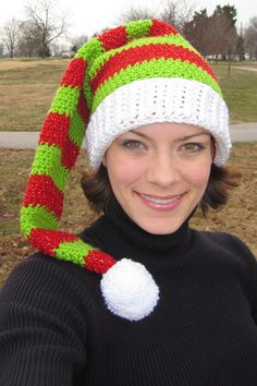 Silly Simple Elf Hat, free pattern by Pren Wilcox.  Some really cute hats along with a few modifications in the Ravelry Project Gallery for this pattern.   #crochet