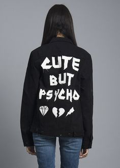 Ask any of our ex-boyfriends, the cuter the crazier! Own your crazy and make a statement with this total black denim jacket featuring button closures at front,
