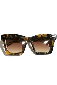966f05d48f957 Same day shipping on Karen Walker Sunglasses. Thick rectangle frames in  tortoise shell acetate with wider arms and signature gold arrow detailing.