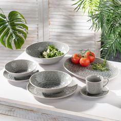 Šálka s podšálkou Grey Stone 15 × 15 × cm - Dekoria Serving Bowls, Decorative Bowls, Tableware, Kitchen, Home Decor, Dinnerware, Cooking, Decoration Home, Room Decor