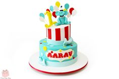Aarav's First Birthday Circus Themed Cake with an Elephant Topper