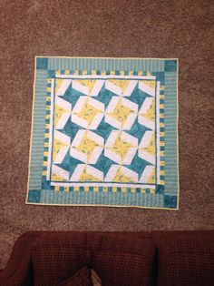 Blue and Yellow Baby Quilt by danastiegemeier on Etsy