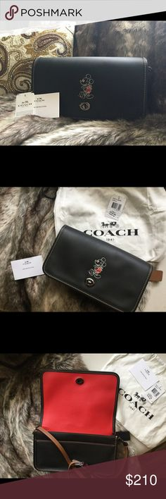 """Coach collectible Mickey Mouse leather crossbody Soft supple black leather with one adjustable strap. 2017 adorable Mickey Mouse limited addition. No longer in production. Silver twisting front lock.one large compartment and two slip pockets. One exterior back slid pocket. New with tags and dust bag. Please see pictures. If you are a collector or just love Mickey this is your DEAL!  9 """" by 6"""" height perfect Coach Bags Crossbody Bags"""