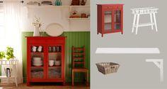 HEMNES Wäscheschrank rot mit Türen aus gehärtetem Glas und EKBY HEMNES/EKBY STILIG Wandregale weiss