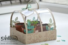 Des petits pots en serre - Don't Worry, Be Crafty! 3d Paper Crafts, Paper Gifts, Stamping Up, Gift Packaging, Keepsake Boxes, Stampin Up Cards, Paper Flowers, Diy Gifts, Cardmaking
